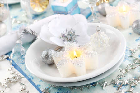 Luxury place setting in white  for Christmas or other event Stock Photo - 8094887