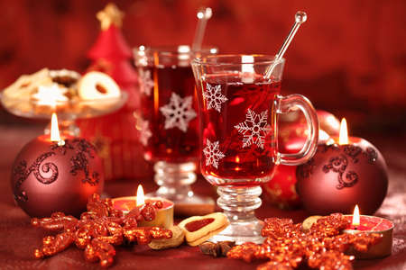 Hot drink for winter and Christmas with delicious cookies Stock Photo - 8184771