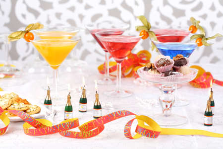 Sweet pralines and coctails birthday party or carnival Stock Photo - 8184725