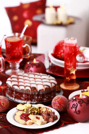 Christmas cookies with marchpane cake and  wine punch for Christmas photo