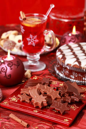Sweet chocolate for Christmas with marchpane cake amd wine punch photo