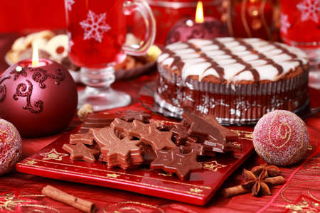 Sweet chocolate for Christmas with marchpane cake Stock Photo - 8184780