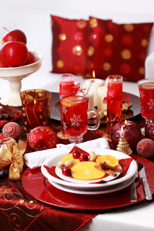Place setting for Christmas with fresh fruits Stock Photo - 8272746