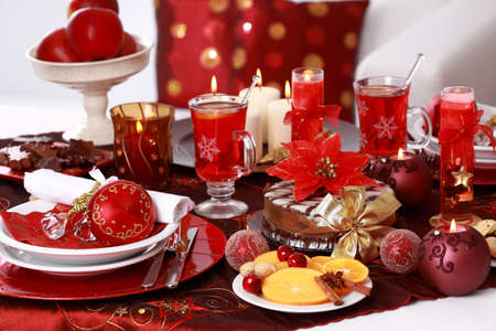 holiday catering: Place setting for Christmas with fresh fruits