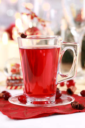 Hot wine cranberry punch for winter and Christmas  photo