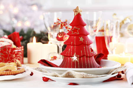 dinnerware: Table setting for Christmas with fresh fruits