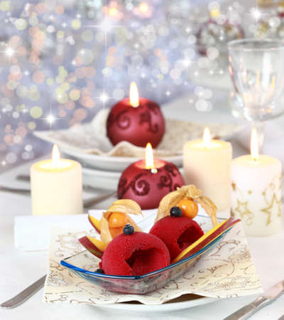 christmas dish: Red currant sorbet or ice cream for Christmas