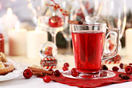 punch spice: Hot wine cranberry punch for winter and Christmas  Stock Photo