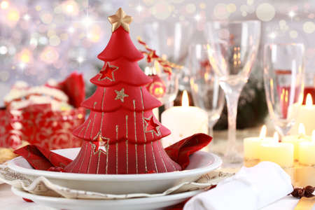 holiday catering: Table setting for Christmas with fresh fruits