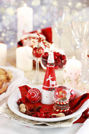 Table setting for Christmas with fresh fruits photo