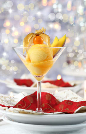 pineapple  glass: Mango and pineapple sorbet or ice cream for Christmas