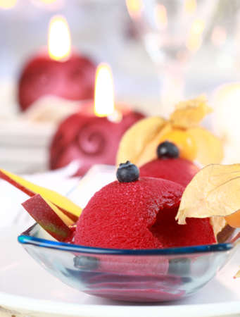 Red currant sorbet or ice cream for Christmas  photo