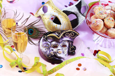 Carnival and party place setting with mask Stock Photo - 8535282