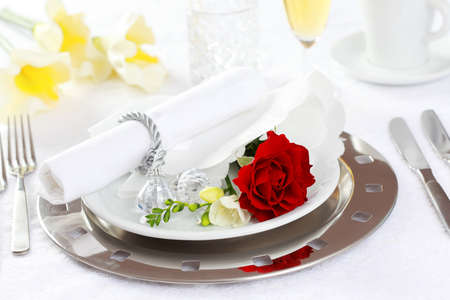 Festive table setting for wedding, Valentine or other event photo