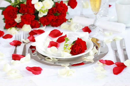 Festive table setting for wedding, Valentine or other event Stock Photo