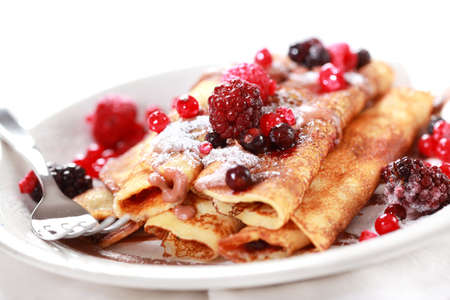 Crepes filled with chocolate and fruits
