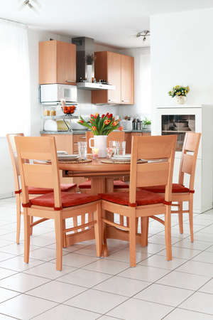 Kitchen and dining room interior in family house Stock Photo - 8672590
