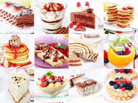 crepe: Collection of different delicious desserts amd cakes  Stock Photo