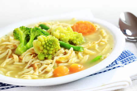 sorted: Chicken noodle soup with sorted vegetable