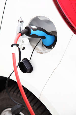 Detail of electric car charging battery photo