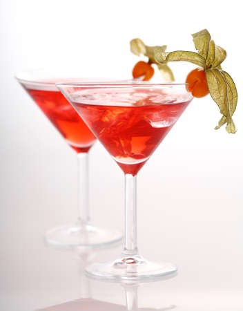 garnished: Delicious coctails garnished with fruits