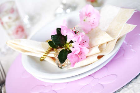 Luxury place setting in pink and white photo