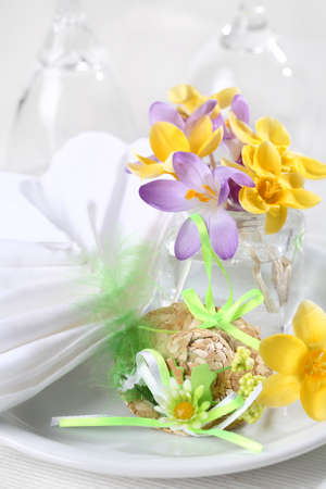 a place of life: Easter detail with Easter eggs for place setting Stock Photo