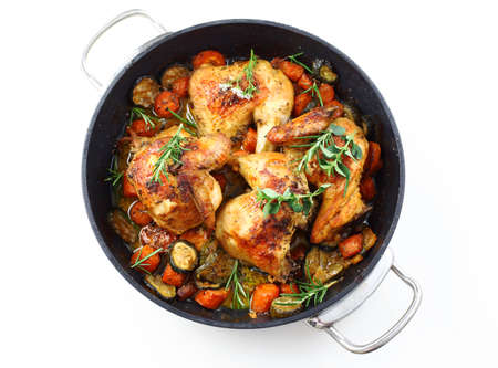 roasting: Tasty roasted chicken with vegetable and herbs Stock Photo