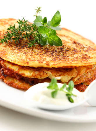Delicious potato pancakes with curd cheese and herbs Stock Photo - 9745708