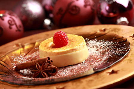 Delicious Creme brulee for Christmas - French burn cream with ice cream photo