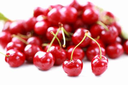 Fresh cherries on white background Stock Photo - 9744538