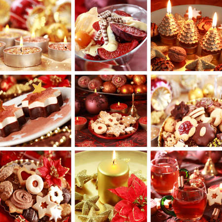 Collection of nine still live photos for Christmas in red and golden tone photo