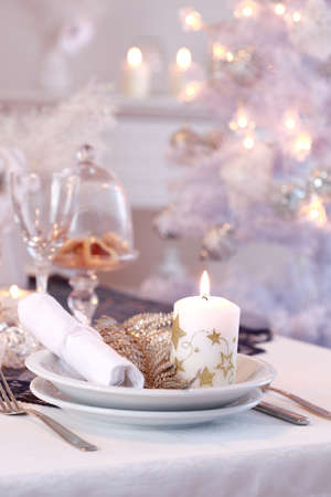 christmas catering: Place setting for Christmas in white