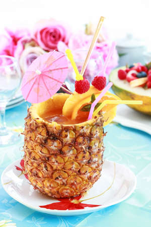 Delicious pineapple cocktail or ice tea Stock Photo - 9864962