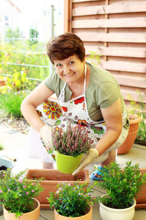 Elderly woman replanting flowers for better growth Stock Photo