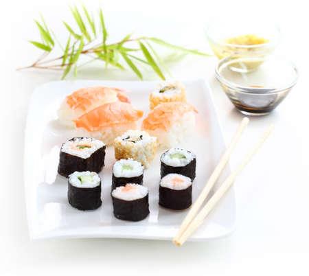 Comida japonesa sushi disparó configuración