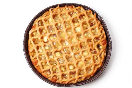 apple pie: Delicioso pastel de manzana sobre fondo blanco