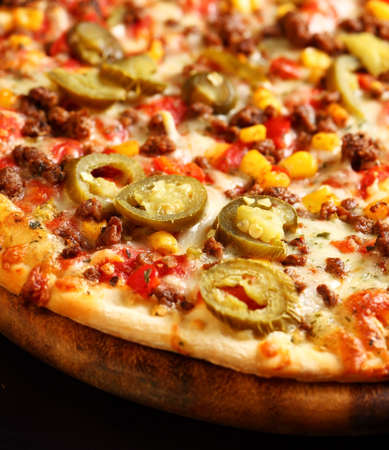 custard slices: Tradition Mexican pizza with chili, beef and onion