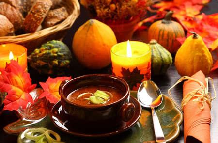 thanksgiving dinner: Goulash soup for autumn and Thanksgiving Stock Photo