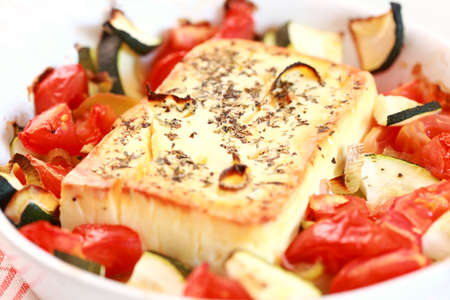 Baked feta cheese with vegetables Stock Photo - 10686086