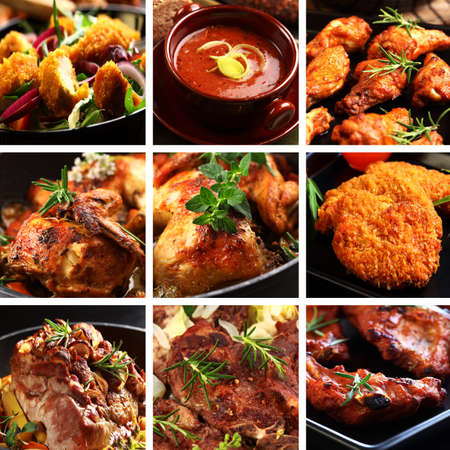 meat soup: Collection of different meat dishes - soup, schnitzel, BBQ, chicken wings