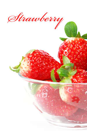 Strawberries in the bowl isolated photo
