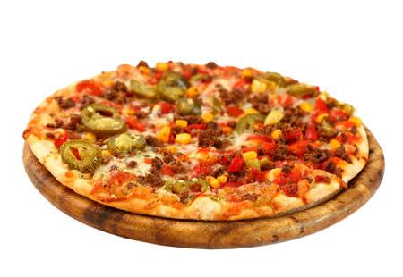 rebanada de pizza: Tradici�n mexicana pizza con carne chile y cebolla Foto de archivo