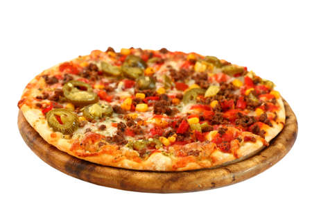 Tradition Mexican pizza with chili, beef and onion photo