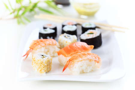 Japanese sushi food shot setting Stock Photo