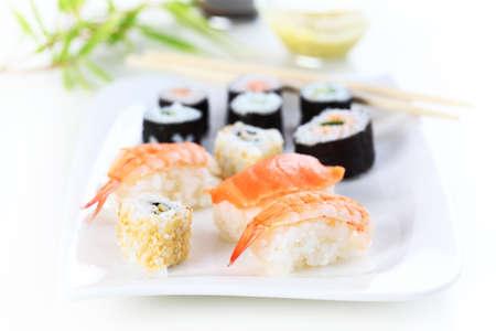 oriental cuisine: Japanese sushi food shot setting Stock Photo