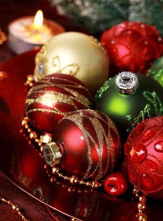 Beautiful Christmas ornaments as table decoration photo
