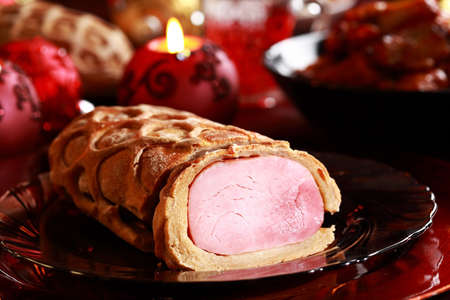 Delicious Christmas bread filled with ham photo