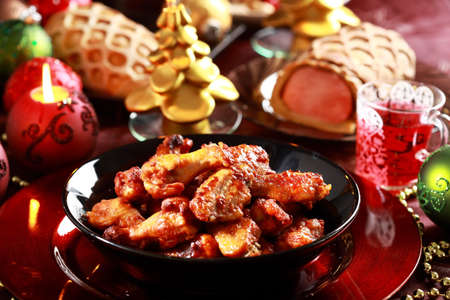 christmas dish: Hot chicken wings for Christmas Stock Photo