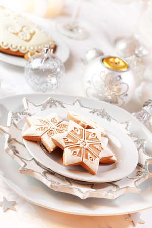 buffet table: Gingerbread for Christmas in white  Stock Photo
